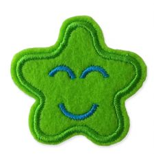 GREEN SMILING STAR MOTIF IRON ON EMBROIDERED PATCH APPLIQUE
